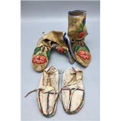 Two Pair Beaded Kids Moccasins - Plateau