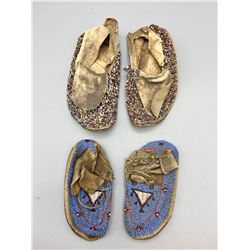 Two Pair Fully Beaded Kids Moccasins
