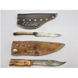 Two Old Knives with Sheaths
