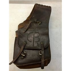 Leather Saddle Bags with Brand