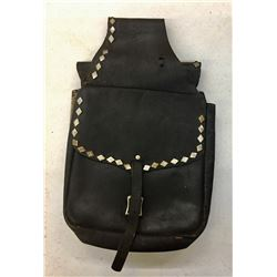 Diamond Studded Black Leather Saddle Bags