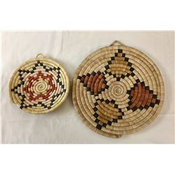 Two Hopi Coiled Plaque Basket