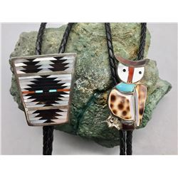 Two Vintage Zuni Bolo Ties