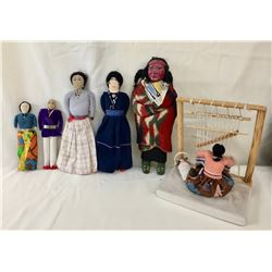 Group of Navajo Dolls and Weaver