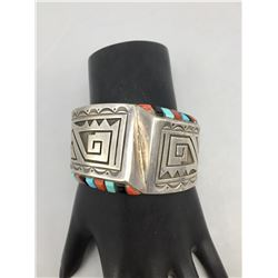 Sterling Silver and Multi-Stone Inlay Bracelet