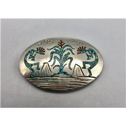 Vintage Navajo Inlay Belt Buckle