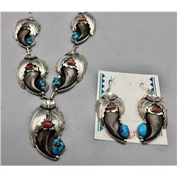 Turquoise and Coral Bear Claw Set