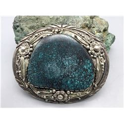 Vintage, Large Stone Turquoise Belt Buckle