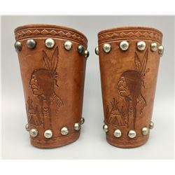 Spotted Leather Cuffs with Native Designs