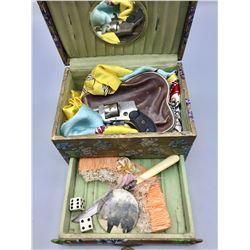 Ladies Vanity Box with Pistol, Small Knife, etc.