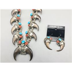 Bear Claw Necklace and Earrings Set