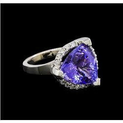9.25 ctw Tanzanite and Diamond Ring - 14KT White Gold
