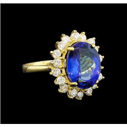 14KT Yellow Gold 5.44 ctw Tanzanite and Diamond Ring
