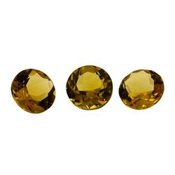 3.39 ctw.Natural Round Cut Citrine Quartz Parcel of Three