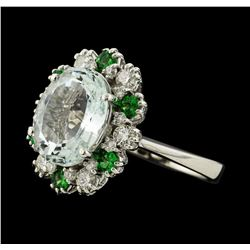 4.40 ctw Aquamarine, Tsavorite and Diamond Ring - 14KT White Gold