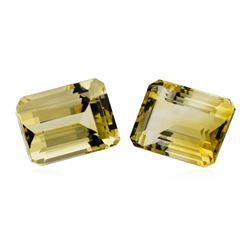27.63 ctw.Natural Emerald Cut Citrine Quartz Parcel of Two