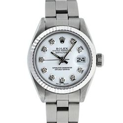 Rolex Ladies Stainless Steel White Diamond 26MM Oyster Band Datejust Wristwatch