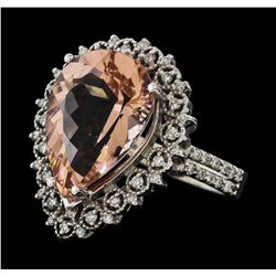 4.76 ctw Morganite and Diamond Ring - 14KT White Gold