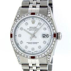 Rolex Mens Stainless Steel Diamond Lugs & Ruby Datejust Wristwatch