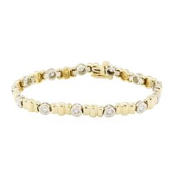 1.70 ctw Diamond Bracelet - 14KT Yellow and White Gold