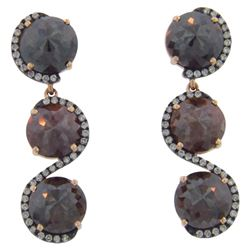 14k Rose Gold 9.29CTW Diamond and Rough Diamond Earrings, (SI3/G)
