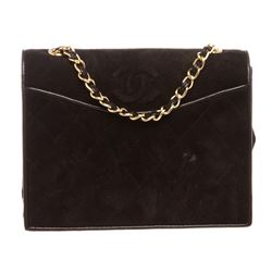 Chanel Black Quilted Suede Leather Trim CC Flap Bag
