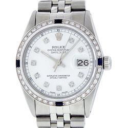 Rolex Mens Stainless Steel White Diamond & Sapphire 36MM Datejust Wristwatch
