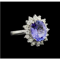 3.58 ctw Tanzanite and Diamond Ring - 14KT White Gold