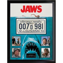 Jaws Signed License Plate and Photo Collage BAS