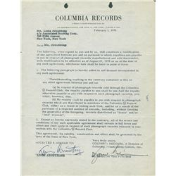 Signed Louis Armstrong Contract