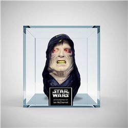 Autographed Star Wars Emperor Palpatine mask in clear case