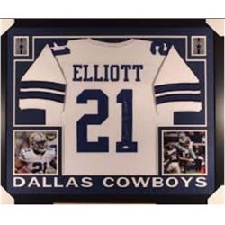 Ezekiel Elliott signed+framed Cowboys Jersey PSA