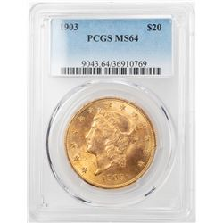 1903 $20 Liberty Head Double Eagle Gold Coin PCGS MS64
