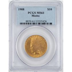 1908 Motto $10 Indian Head Eagle Gold Coin PCGS MS61