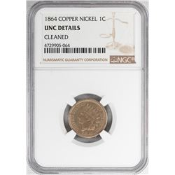 1864 1 Cent Copper Nickel Coin NGC UNC Details