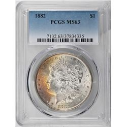 1882 $1 Morgan Silver Dollar Coin PCGS MS63 Amazing Toning