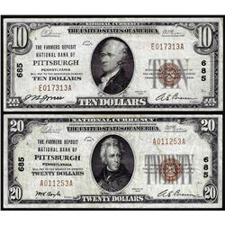 Set of 1929 $10/$20 NB of Pittsburgh, PA CH# 685 National Currency Notes