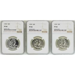 Lot of (3) 1959 Proof Franklin Half Dollar Coins NGC PF66