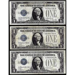 Lot of (3) 1928A/B $1 Funnyback Silver Certificate Notes
