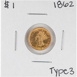 1862 Type 3 $1 Indian Princess Head Gold Dollar Coin