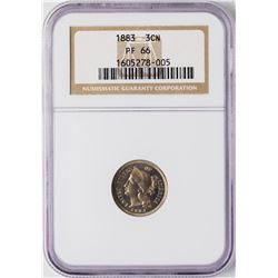 1883 Proof Three Cent Nickel Coin NGC PF66