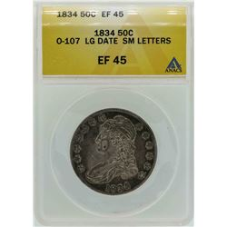 1834 Capped Bust Half Dollar Coin O-107 Large Date Small Letters ANACS EF45