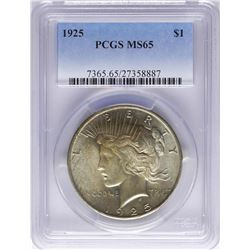 1924 $1 Peace Silver Dollar Coin PCGS MS65