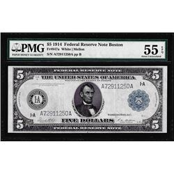 1914 $5 Federal Reserve Note Boston Fr.847a PMG About Uncirculated 55EPQ