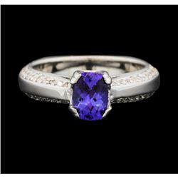 14KT White Gold 0.85 ctw Tanzanite and Diamond Ring