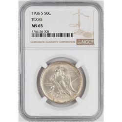 1936-S Texas Centennial Commemorative Half Dollar Coin NGC MS65