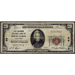 1929 $20 National Bank Milwaukee, WI CH# 64 National Currency Note