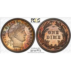 1912 Proof Barber Dime Coin PCGS PR65 Amazing Toning