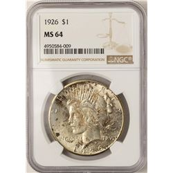 1926 $1 Peace Silver Dollar Coin NGC MS64