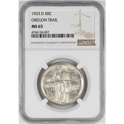 1933-D Oregon Trail Commemorative Half Dollar Coin NGC MS65